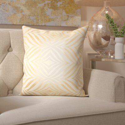 Sharonda Geometric Throw Pillow Color: Ivory/Gold
