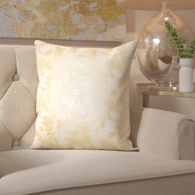 Bonnert Throw Pillow Color: Ivory/Gold