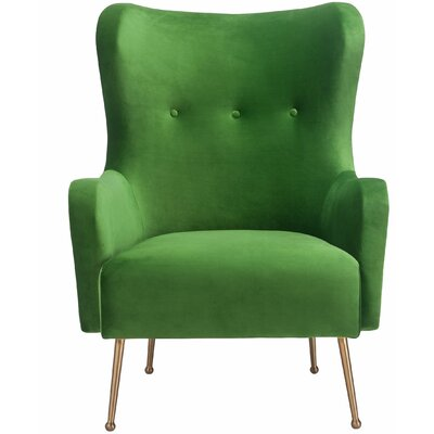 Burke Velvet Wingback Chair Upholstery: Green