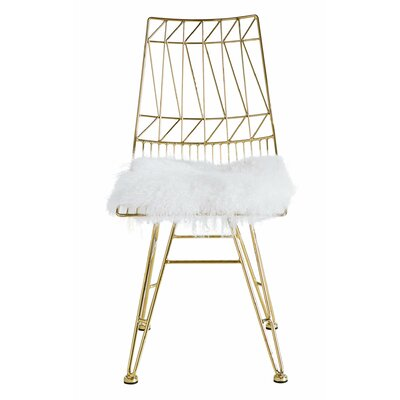 Stijn Steel Parsons Chair Upholstery: White