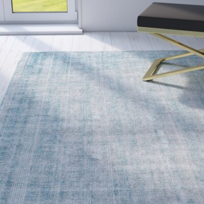 Kingston Hand Woven Cotton Aqua Area Rug Rug Size: Rectangle 8 x 11