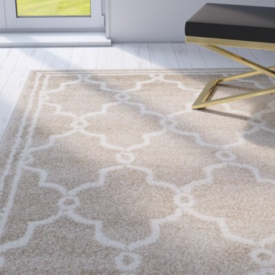 Maritza Geometric Wheat/Beige Indoor/Outdoor Area Rug Rug Size: 5 x 5