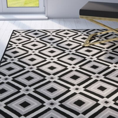 Payne Black/Grey Outdoor Area Rug Rug Size: 36 x 56