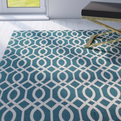 Holsworthy Teal & Ivory Area Rug Rug Size: Rectangle 73 x 93