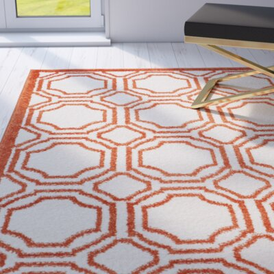 Maritza Ivory/Orange Indoor/Outdoor Area Rug Rug Size: Rectangle 6 x 9