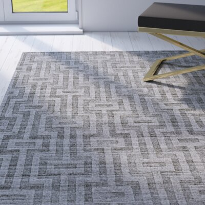 Damiane Hand-Loomed Gray Graphite Area Rug Rug Size: Rectangle 96 x 136