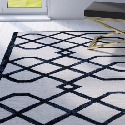 Davinia Hand-Tufted Off-White/Black Area Rug Size: Runner 26 x 8