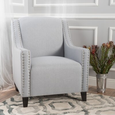 Great Dunmow Nailhead trim Arm Chair Upholstery: Light Gray