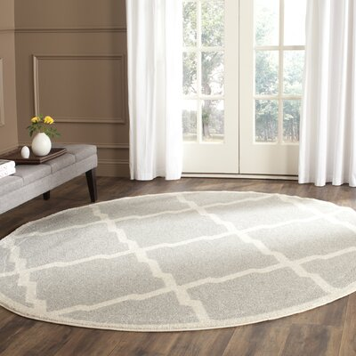 Maritza Light Gray/Beige Indoor/Outdoor Area Rug Rug Size: Round 5