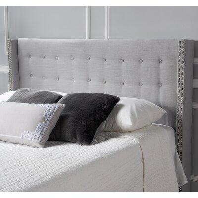 Edmund Full Upholstered Wingback Headboard Color: Light Gray
