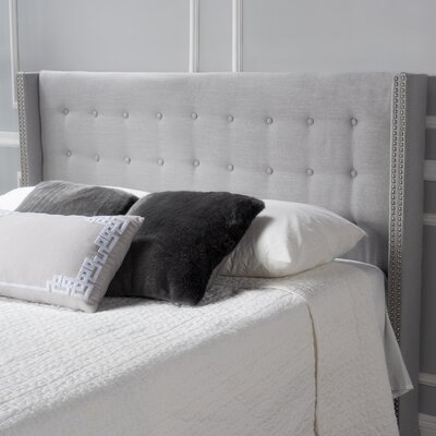Edmund Full Upholstered Wingback Headboard Color: Light Gray