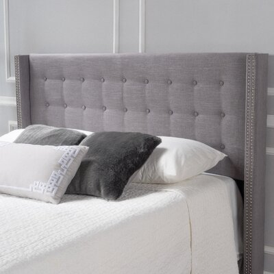 Edmund Full Upholstered Wingback Headboard Color: Dark Gray