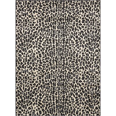 Colletta Ivory/Black Area Rug Rug Size: 53 x 73