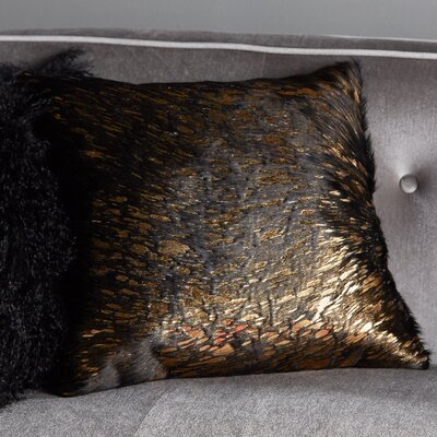 Zimbalist Natural Leather Throw Pillow Color: Black Gold
