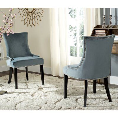 Carraway Upholstered Dining Chair Upholstery Color: Velvet Steel Blue
