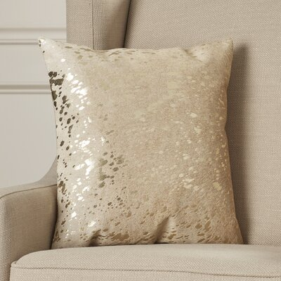 Zimbalist Natural Leather Throw Pillow Color: Beige Gold