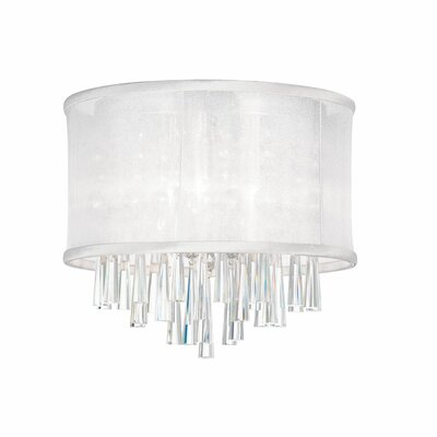 Louth 3-Light Flush Mount Shade Color: White Organza
