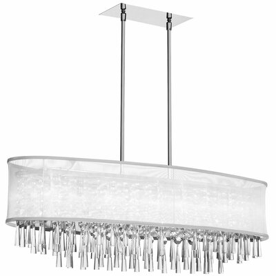 Louth 8-Light Kitchen Island Pendant Shade Color: White