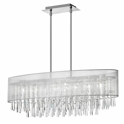 Deverel 8-Light Metal Kitchen Island Pendant Shade Color: Silver Laminated Organza