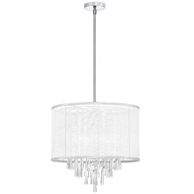 Louth 6-Light Drum Pendant Shade Color: White