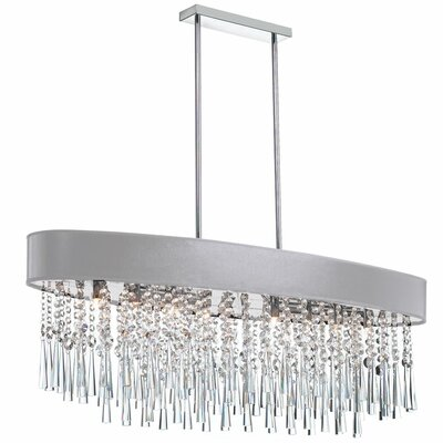 Deverel Contemporary 8-Light Kitchen Island Pendant Shade Color: Silver