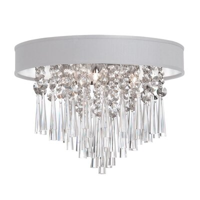 Louth 3-Light Flush Mount Shade Color: White Baroness