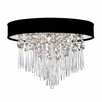 Louth 3-Light Flush Mount Shade Color: Black Lizagator