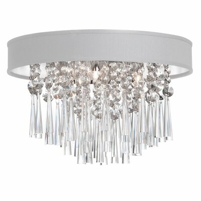 Louth 4-Light Flush Mount Shade Color: White Baroness