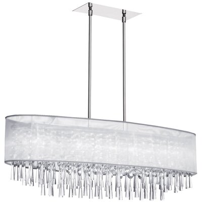 Deverel 8-Light Metal Kitchen Island Pendant Shade Color: White Organza