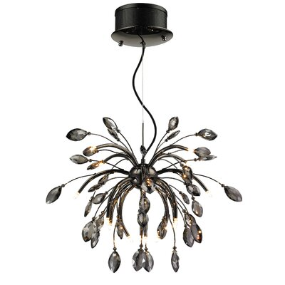 Rothwell 16-Light Crystal Chandelier Finish: Graphite, Size: 24.75 H x 24 W