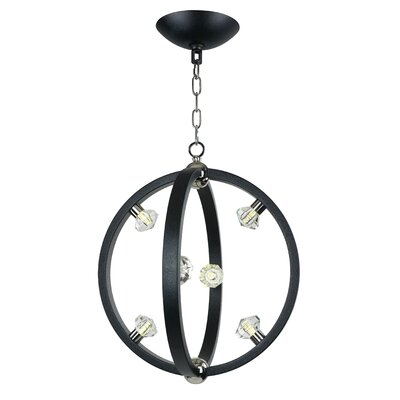 Stotfield 6-Light Foyer Pendant Finish: Textured Black/Polished Nickel