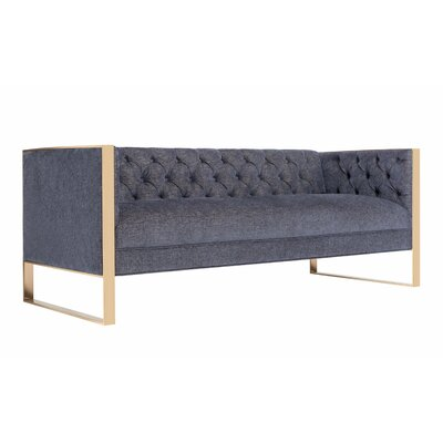 Hilltop Sofa Upholstery: Navy, Finish: Gold