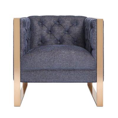 Ottenburg Arm Chair Upholstery: Navy, Finish: Gold