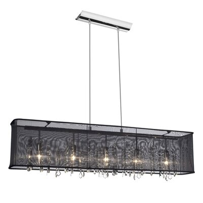 Lydney Crystal 5-Light Kitchen Island Pendant Shade: Black Organza Shade