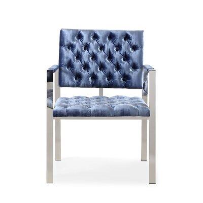 Attwater Velvet Arm Chair Upholstery: Blue, Finish: Silver