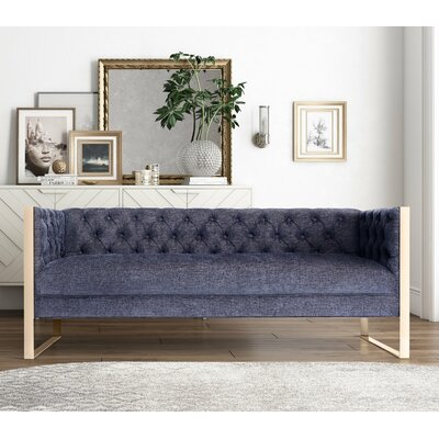 Hilltop 2 Piece Living Room Set Upholstery: Navy, Finish: Gold