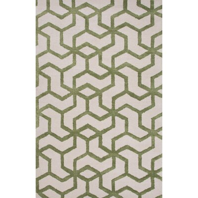Hyde Wool and Art Silk Hand Tufted Ivory/Green Area Rug Rug Size: 5 x 8