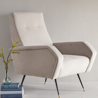 Soapstone Velvet Retro Mid Century Arm Chair Upholstery: Gray