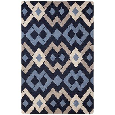 Brixton Hand-Tufted Blue/Tan Area Rug Rug Size: 2 x 3