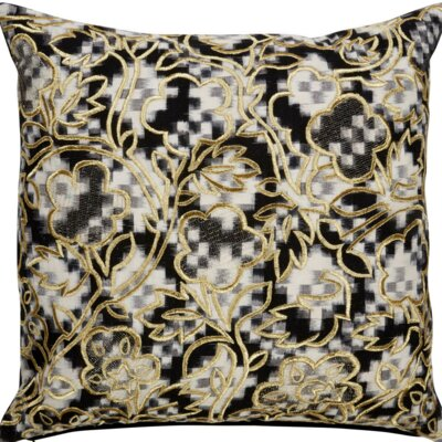 Brightwood Enbroidered Floral Pattern Square Cotton Throw Pillow