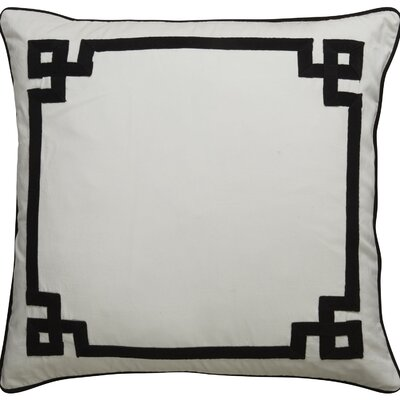 Highbury Border Pattern Throw Pillow Color: Ivory / Black
