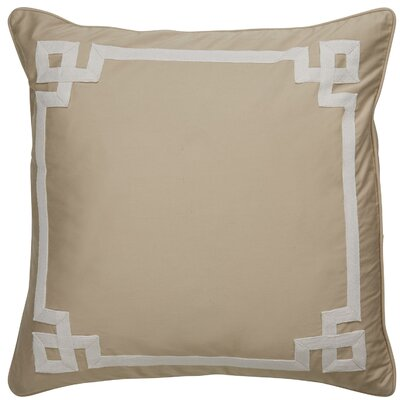 Darvell Border Pattern Square Throw Pillow Color: Taupe / Ivory