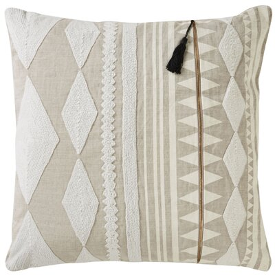 Brightwood Removable Tribal Pattern Linen Throw Pillow Color: Ivory / Tan
