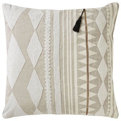 Anastagio Tribal Pattern Linen Throw Pillow Color: Ivory / Tan
