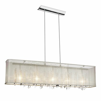 Lydney Crystal 5-Light Kitchen Island Pendant Shade: Oyster Organza Shade