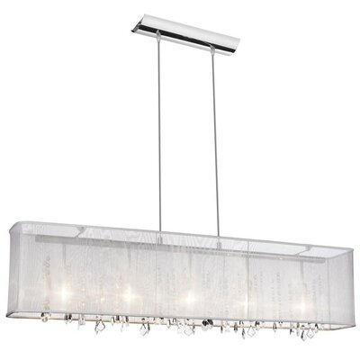 Lydney Crystal 5-Light Kitchen Island Pendant Shade: White Organza Shade