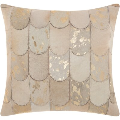Cinderford Natural Leather Throw Pillow Color: Beige