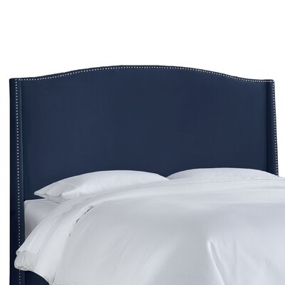 Kipp Upholstered Wingback Headboard Size: King, Upholstery: Navy