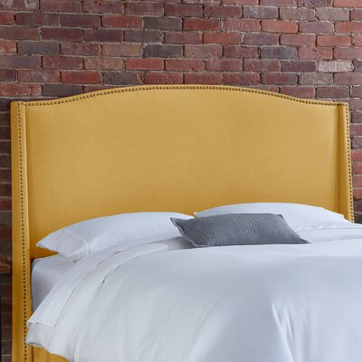 Doleman Solid Wood Upholstered Wingback Headboard Size: King, Upholstery: French Yellow