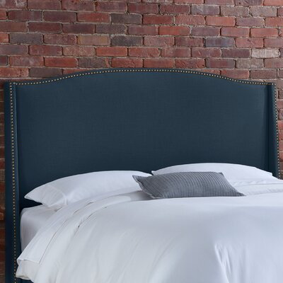 Doleman Solid Wood Upholstered Wingback Headboard Upholstery: Navy, Size: Queen